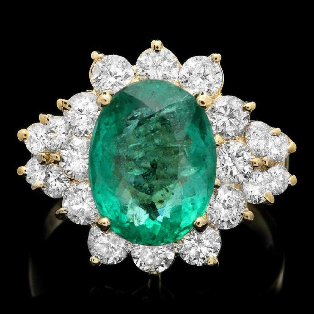 14K Yellow Gold 3.78ct Emerald and 1.69ct Diamond Ring