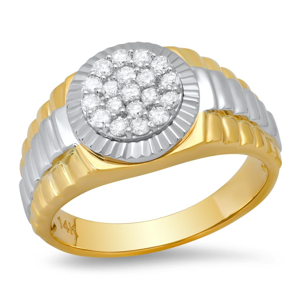 14k Yellow and White Gold with 0.52ct Diamonds Mens Ring