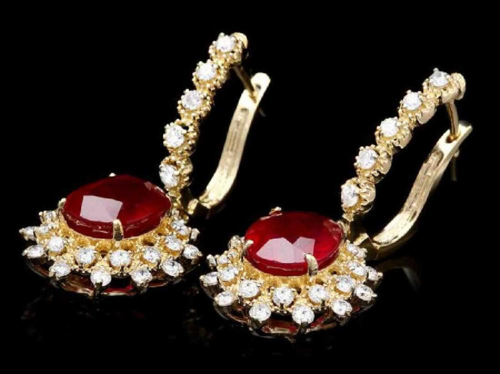 14K Yellow Gold 8.12ct Ruby and 1.74ct Diamond Earrings