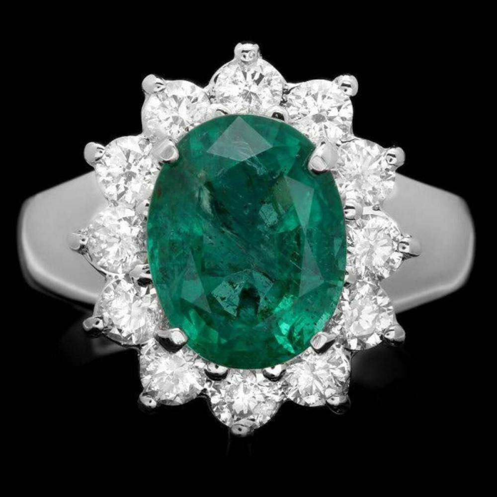 14K White Gold 3.47ct Emerald and 1.02ct Diamond Ring