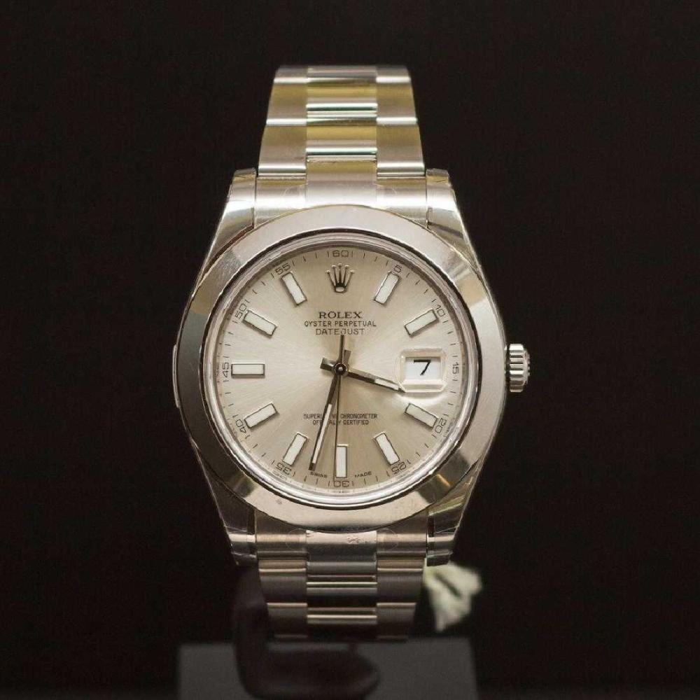 Rolex Stainless Steel Datejust 41mm Silver Dial Men's Wristwatch