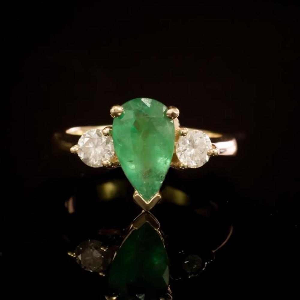 14K Yellow Gold 1.41ct Emerald and 0.58ct Diamond Ring