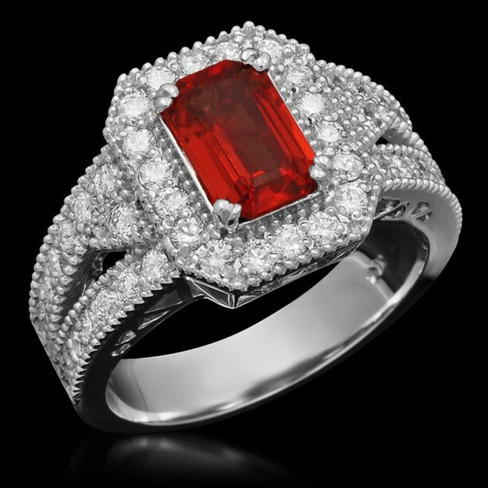 14K White Gold 1.53ct Ruby and 1.06ct Diamond Ring