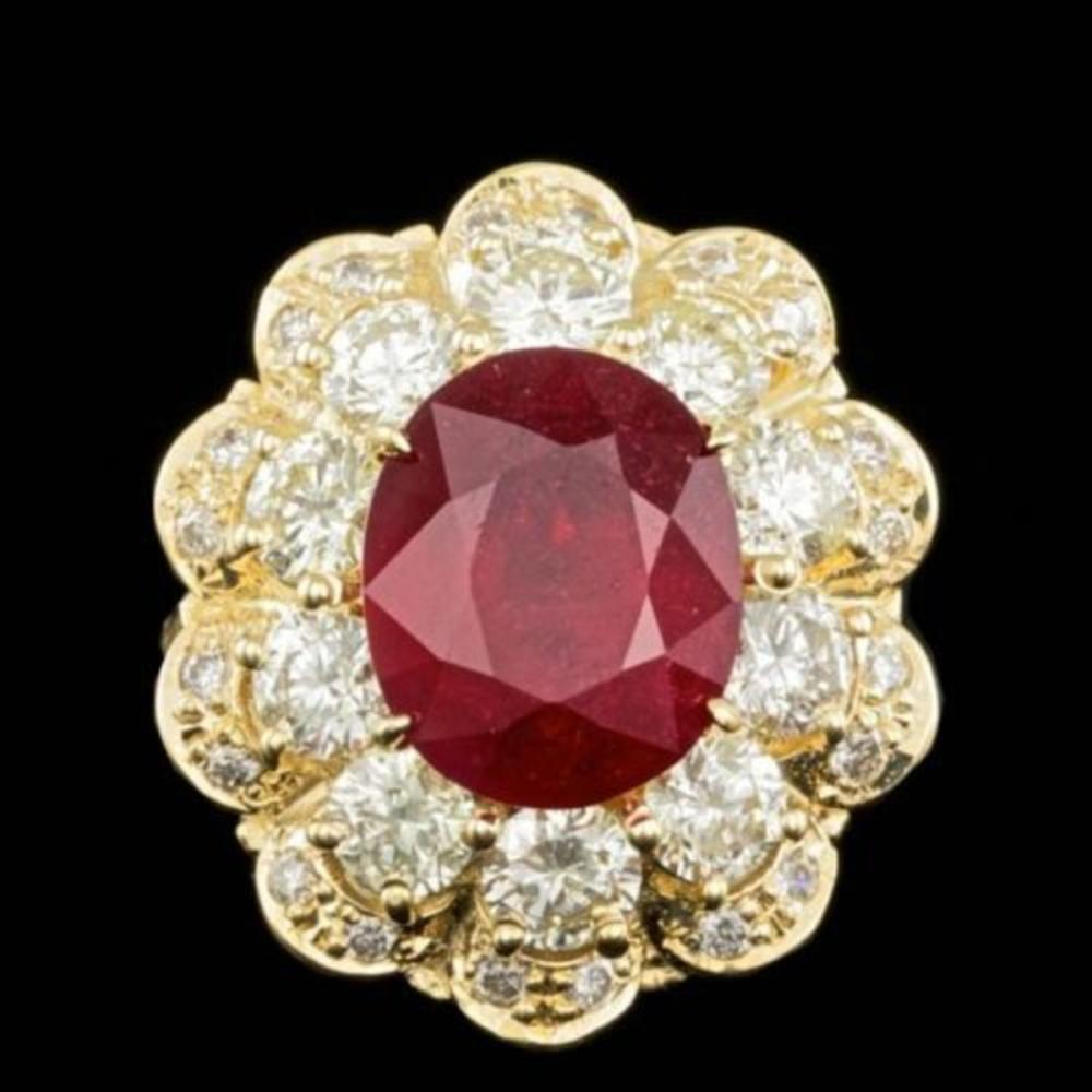 14K Yellow Gold 5.82ct Ruby and 2.82ct Diamond Ring