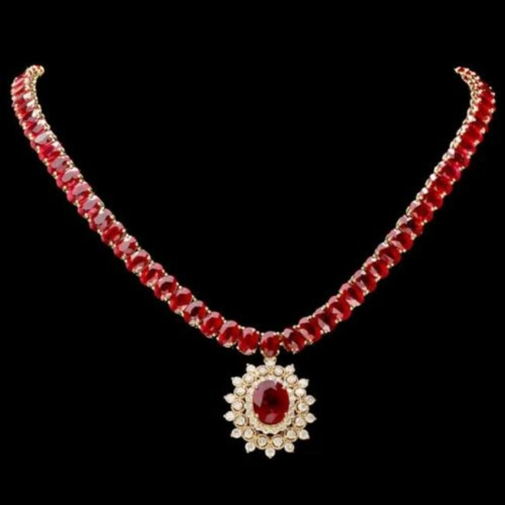 14K Yellow Gold 94.35ct Ruby and 1.60ct Diamond Necklace