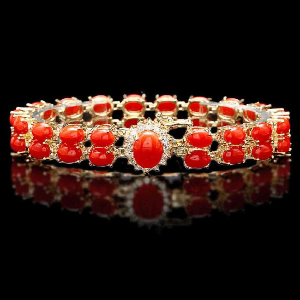 14K Yellow Gold 25.85ct Coral and 0.35ct Diamond Bracelet