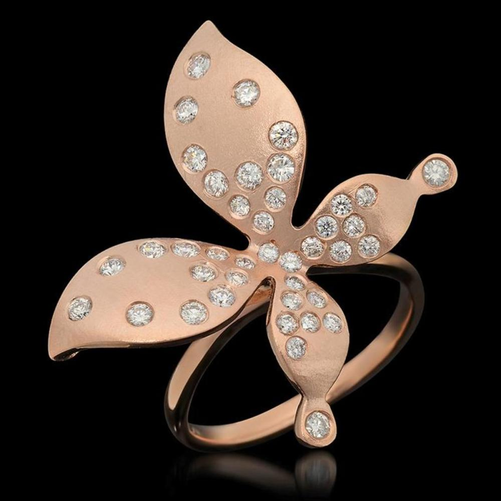 "14K Rose Gold 0.85ct Diamond Butterfly"" Ring"""