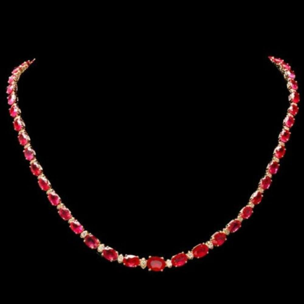14K Yellow Gold 35.65ct Ruby and 1.22ct Diamond Necklace