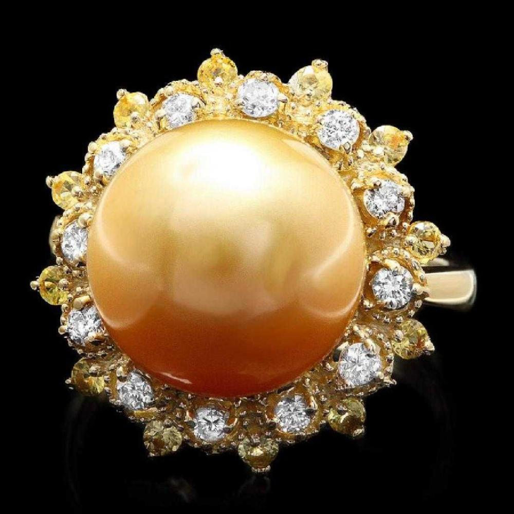 14K Yellow Gold 12mm South Sea Pearl 0.43ct Sapphire and 0.39ct Diamond Ring