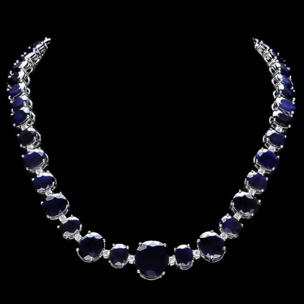 14K White Gold 164.72ct Sapphire and 1.74ct Diamond Necklace
