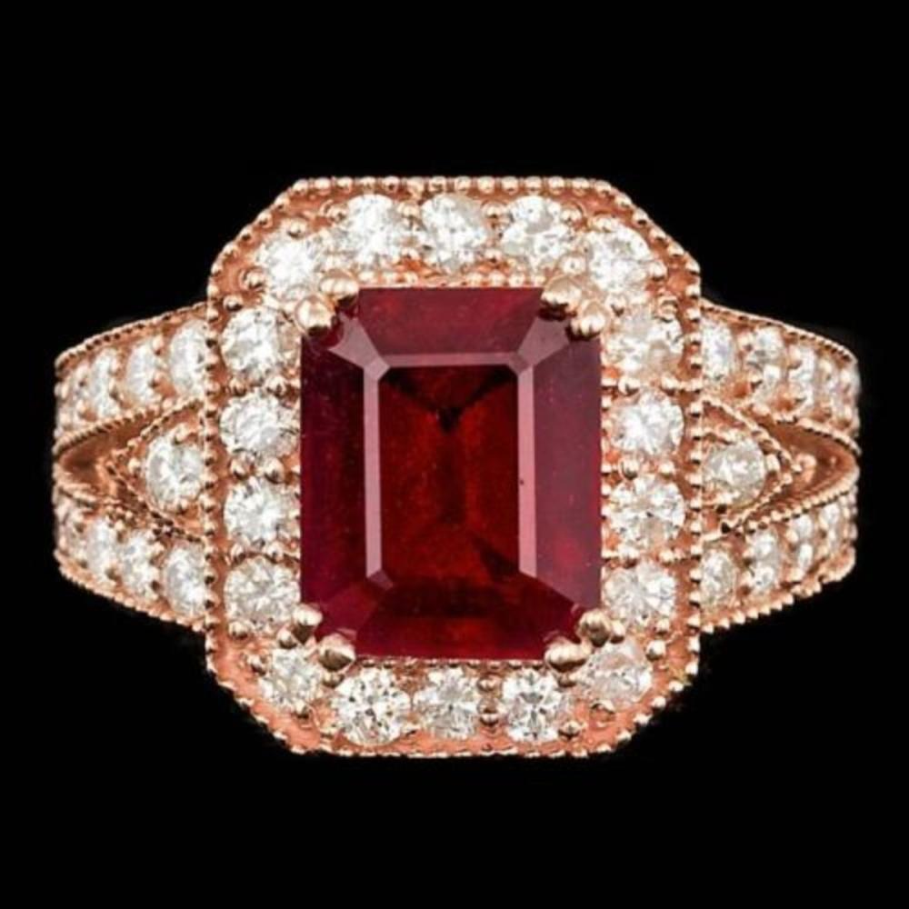 14K Rose Gold 5.18ct Ruby and 1.52ct Diamond Ring