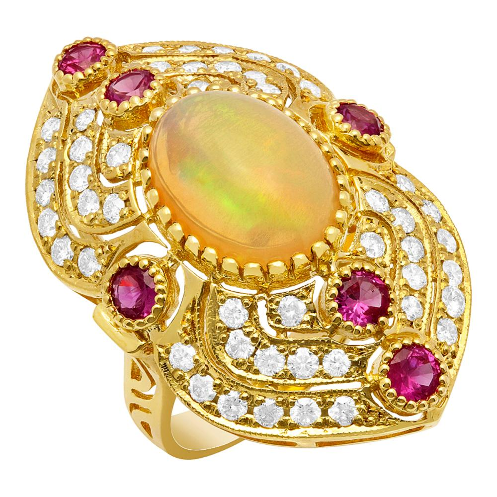 14k Yellow Gold 3.90ct Ethiopian Opal 0.90ct Ruby 1.49ct Diamond Ring
