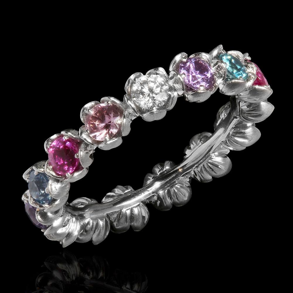 18k White Gold 1.89ct Sapphire 0.39ct Diamond Eternity Band Ring
