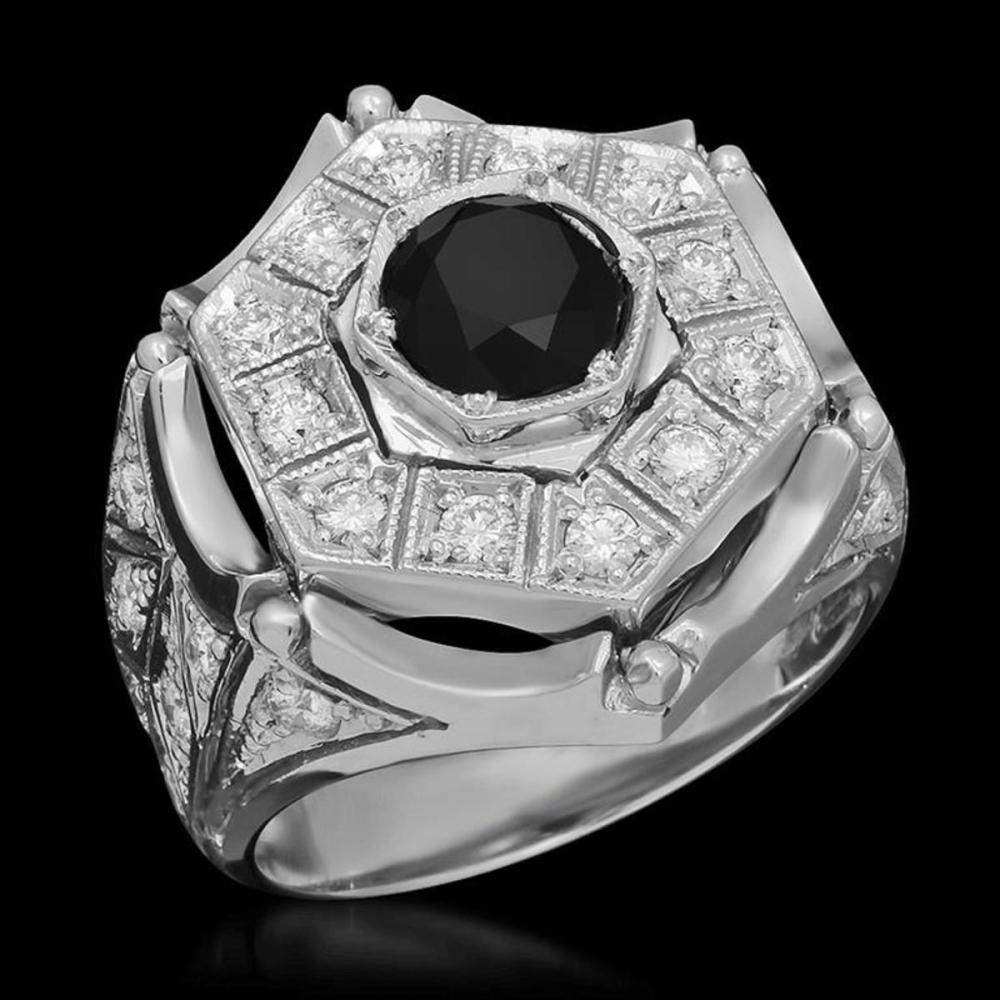 14K White Gold 1.70ct Fancy Color Diamond and 1.37ct Diamond Mens Ring