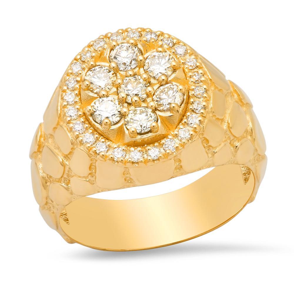 14K Yellow Gold and 1.15ct Diamond Mens Ring