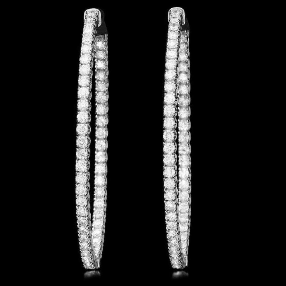 14K White Gold and 3.15ct Diamond Earrings