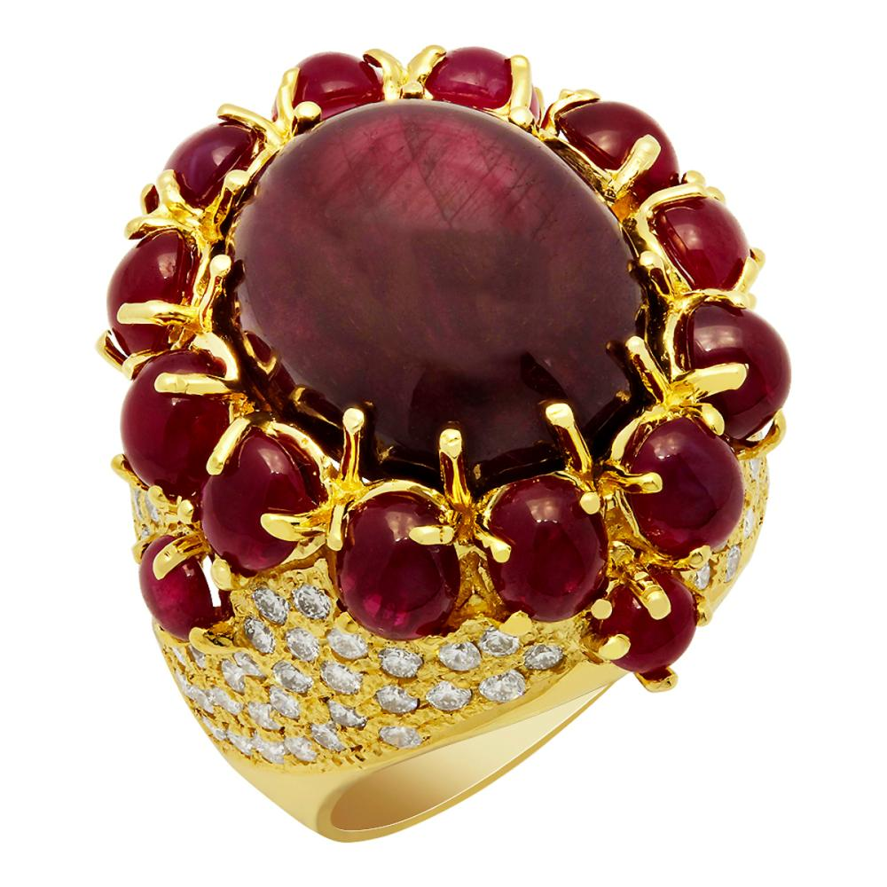 14k Yellow Gold 21.48ct & 5.00ct Ruby 2.18ct Diamond Ring