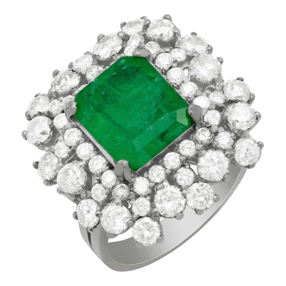 14k White Gold 2.98ct Emerald 2.83ct Diamond Ring