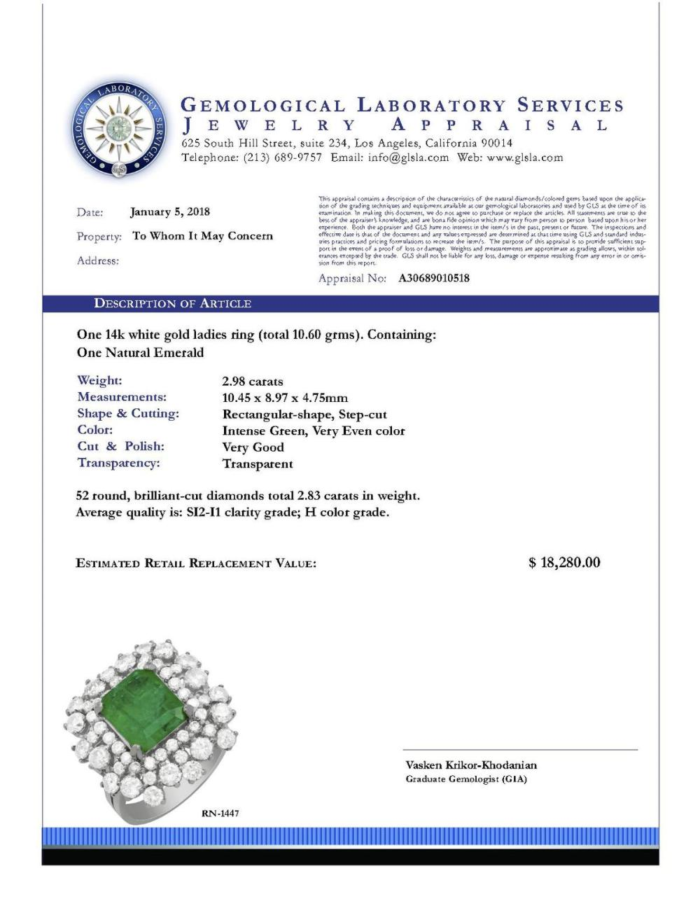 Lot 105: 14k White Gold 2.98ct Emerald 2.83ct Diamond Ring