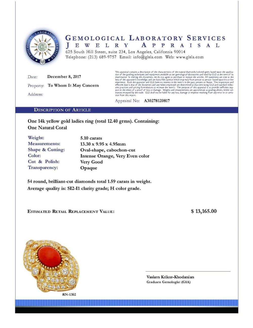 Lot 106: 14k Yellow Gold 5.10ct Coral 1.59ct Diamond Ring