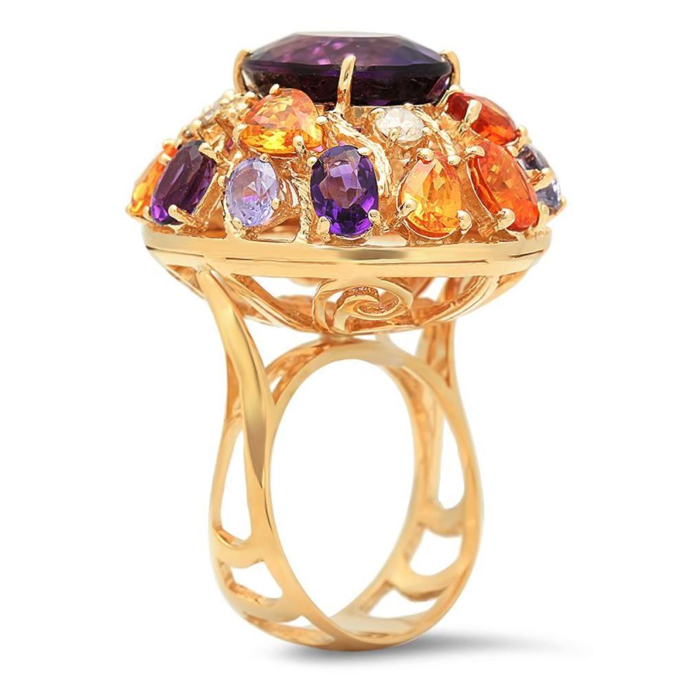 Lot 107: 14K Yellow Gold 8.64ct Amethyst 7.42ct Sapphire and 0.47ct Diamond Ring