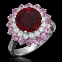 Lot 109: 14K White Gold 3.0ct Ruby 2.13ct Sapphire and 0.58ct Diamond Ring