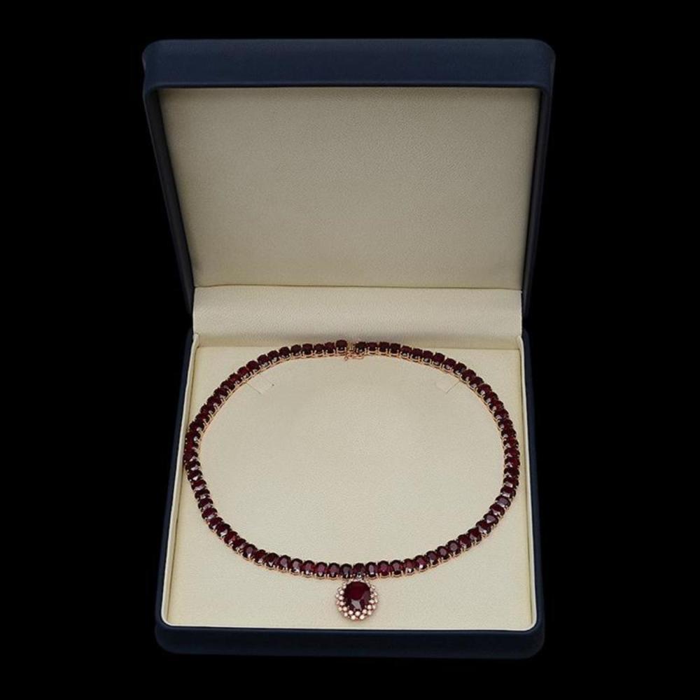 Lot 108: 14K Gold 143.21ct Ruby & 1.03ct Diamond Necklace