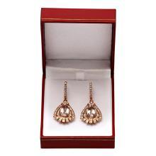 Lot 11: 14k Rose Gold 6.75ct Morganite 3.14ct Diamond Earrings