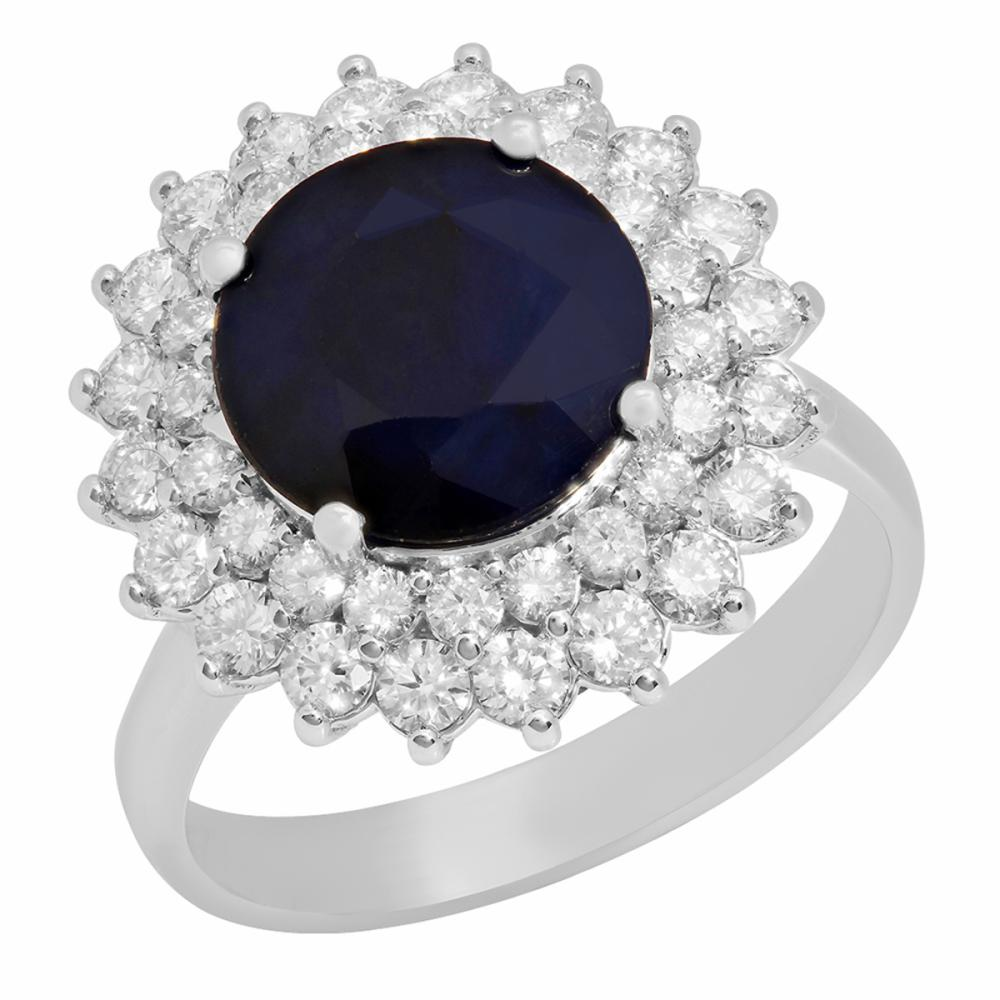 Lot 110: 14k White Gold 3.39ct Sapphire 1.09ct Diamond Ring