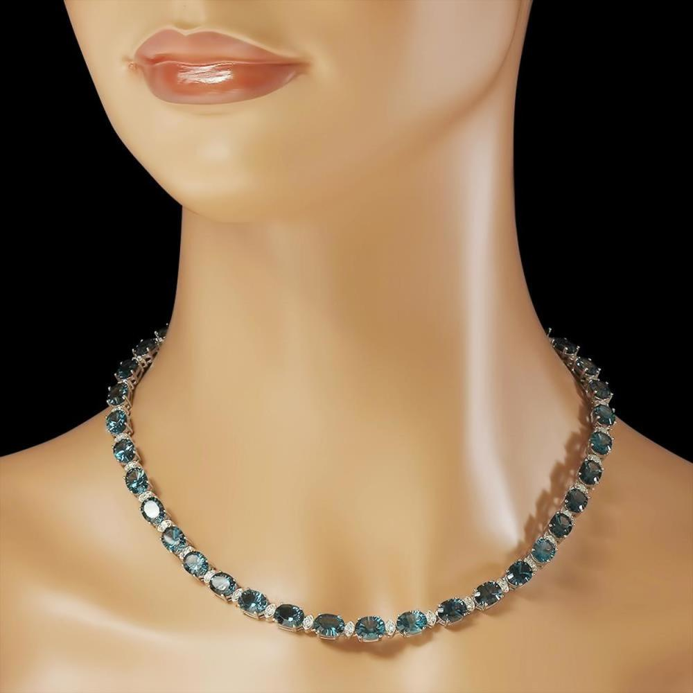 Lot 113: 14K Gold 56.61ct Topaz 2.69ct Diamond Necklace