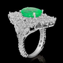 Lot 114: 14k White Gold 4.23ct Emerald 4.60ct Diamond Ring
