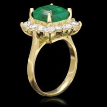 Lot 115: 14K Yellow Gold 3.92ct Emerald and 1.98ct Diamond Ring