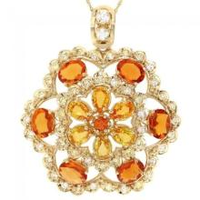 Lot 116: 14K Gold 7.13ct Sapphire and 1.34ct Diamond Pendant