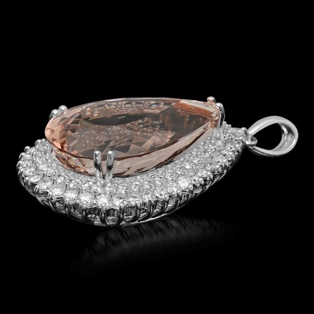 Lot 117: 14K Gold 44.71ct Morganite 4.01ct Diamond Pendant