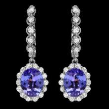 Lot 119: 14k Gold 4.52ct Tanzanite 1.26ct Diamond Earrings
