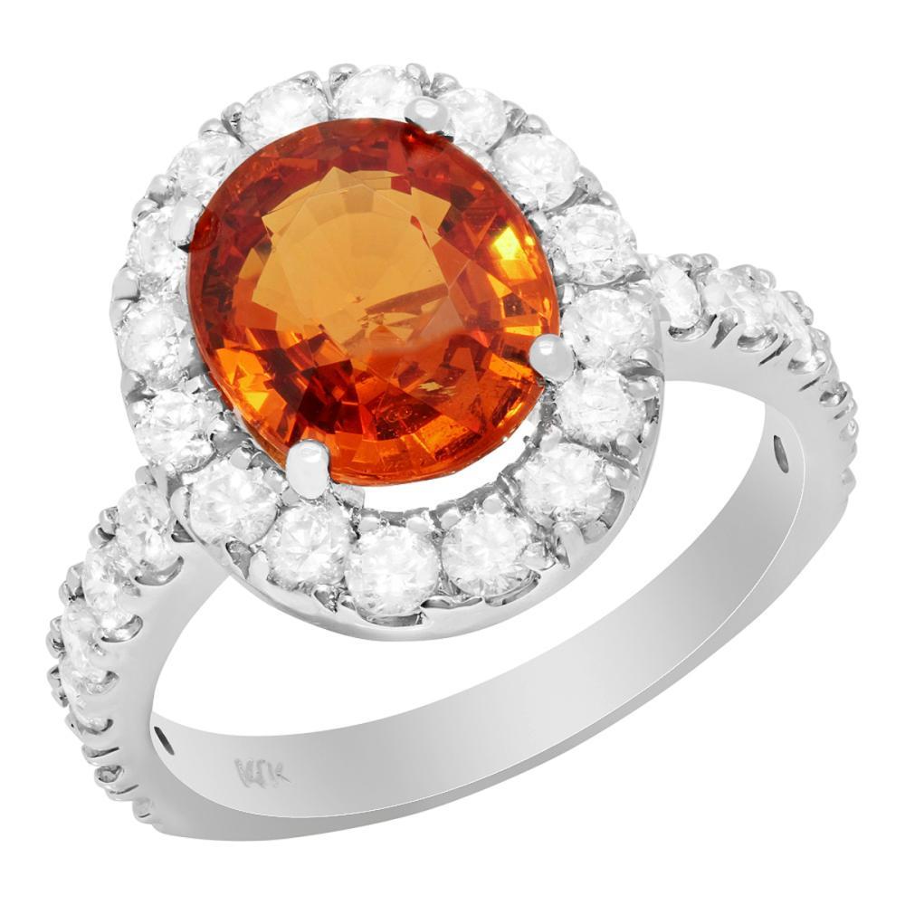 Lot 12: 14k White Gold 4.15ct Spessarite Mandarin Garnet 1.21ct Diamond Ring