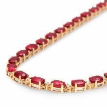 Lot 121: 14K Gold 35.20ct Ruby 1.33cts Diamond Necklace