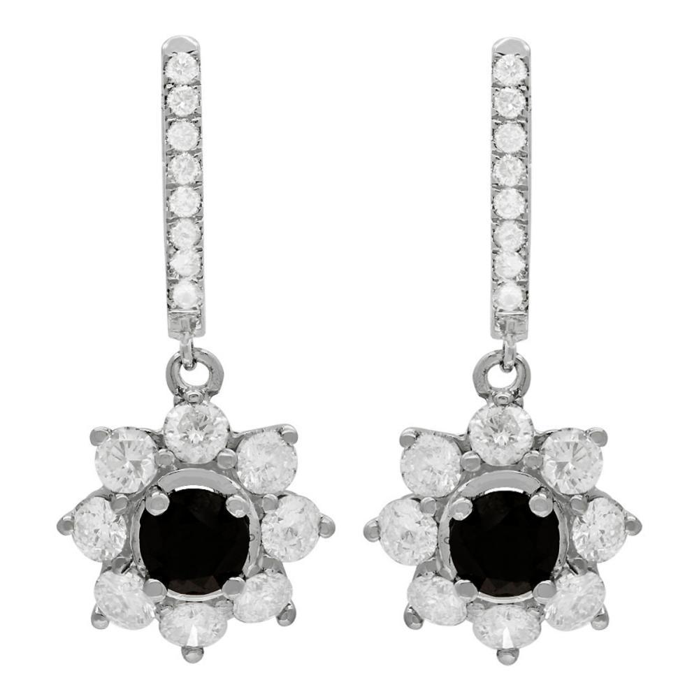 Lot 122: 14k White Gold 2.55ct & 3.69ct Diamond Earrings