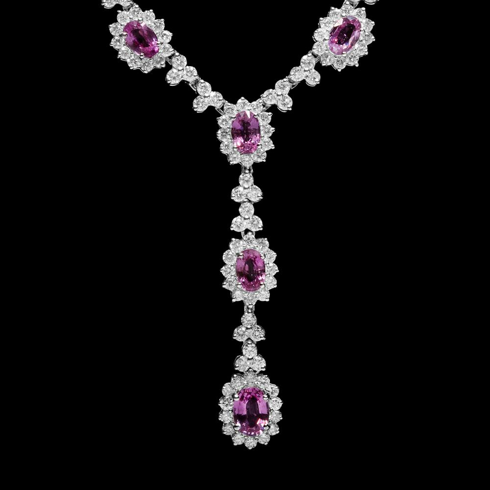Lot 123: 18k White Gold 7.52ct Sapphire 7.51ct Diamond Necklace