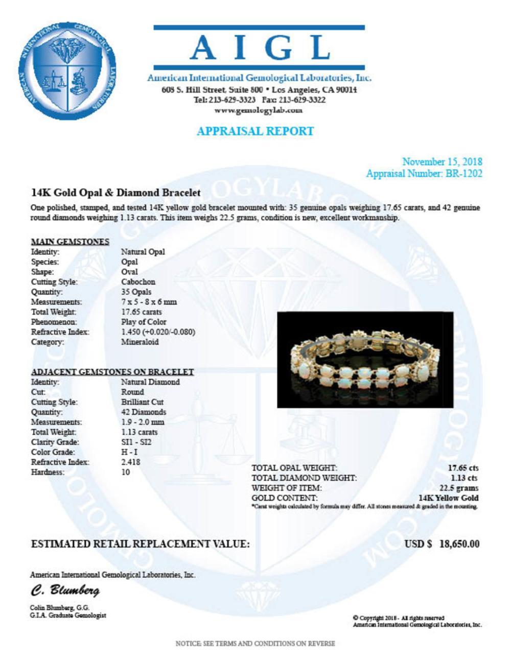 Lot 124: 14K Gold 17.65ct Opal 1.13ct Diamond Bracelet