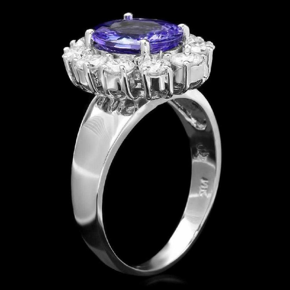 Lot 125: 14K White Gold 2.07ct Tanzanite and 1.19ct Diamond Ring