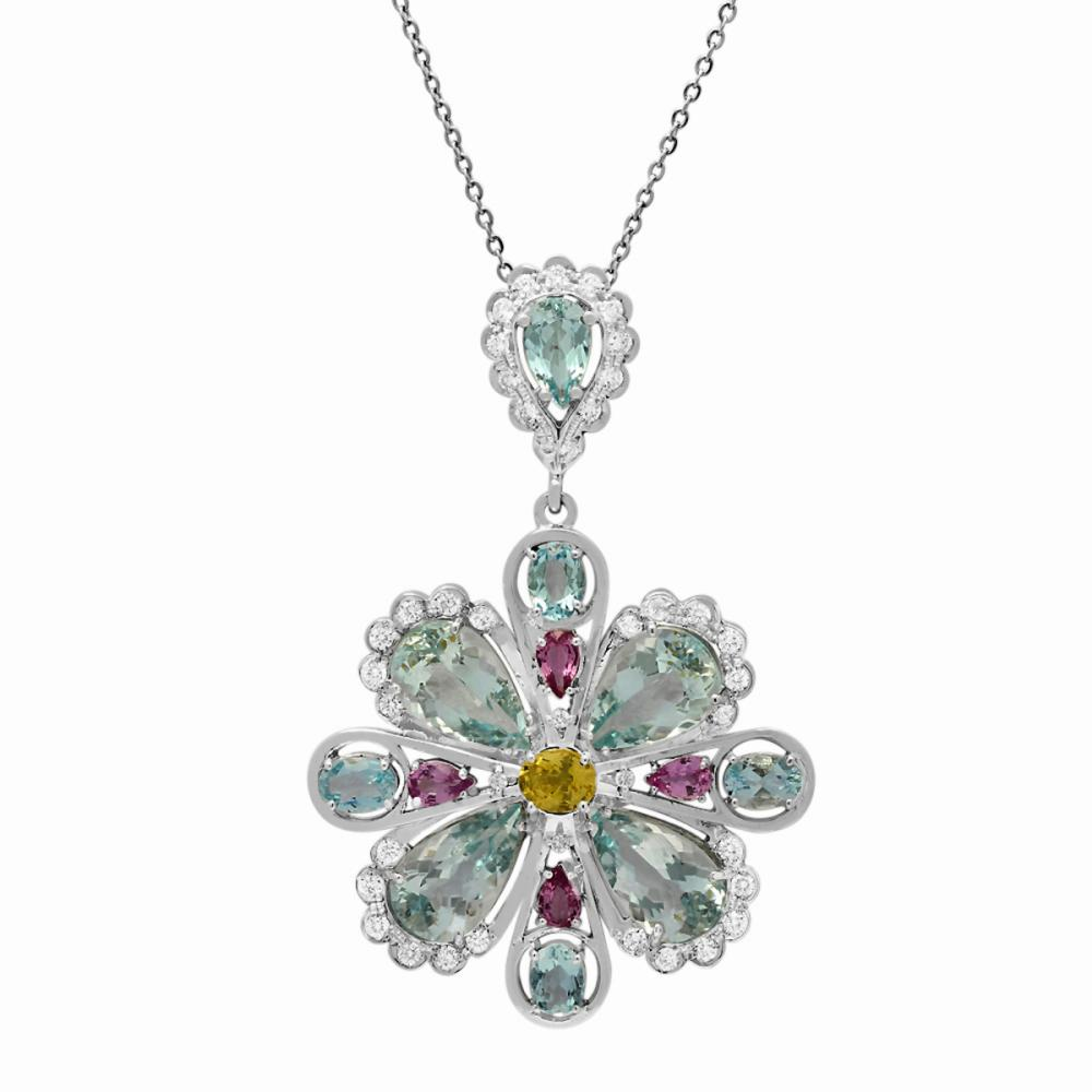 Lot 126: 14k White Gold 20.12ct Aquamarine 3.00ct Sapphire 1.49ct Diamond Pendant