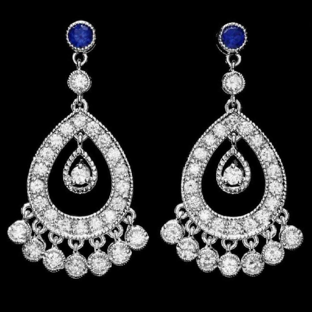 Lot 127: 14K White Gold 0.66ct Sapphire and 2.88ct Diamond Earrings