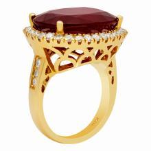 Lot 128: 14k Yellow Gold 18.24ct Ruby 1.11ct Diamond Ring