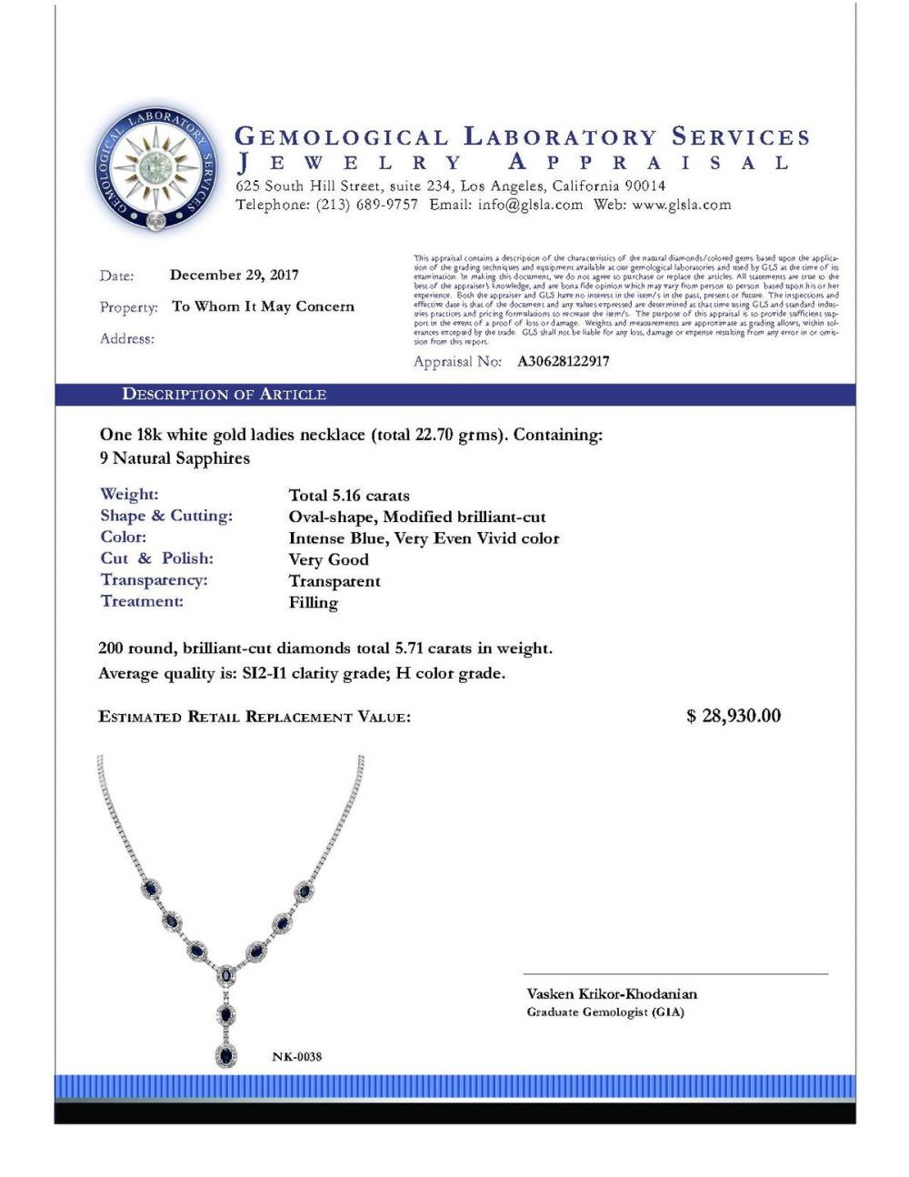 Lot 129: 14k White Gold 5.16ct Sapphire 5.71ct Diamond Necklace