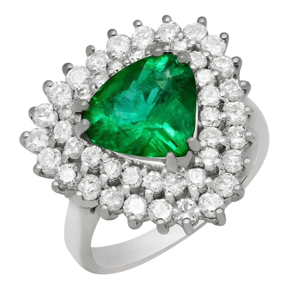 14k White Gold 2.31ct Emerald 1.71ct Diamond Ring