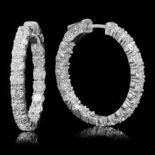 Lot 133: 14K White Gold and 6.10ct Diamond Hoop Earrings