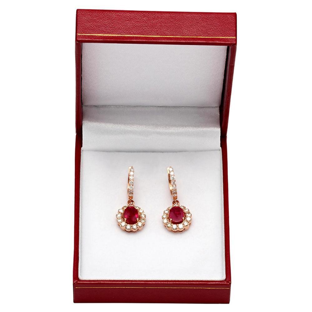 Lot 131: 14k Rose Gold 2.79ct Ruby 2.05ct Diamond Earrings