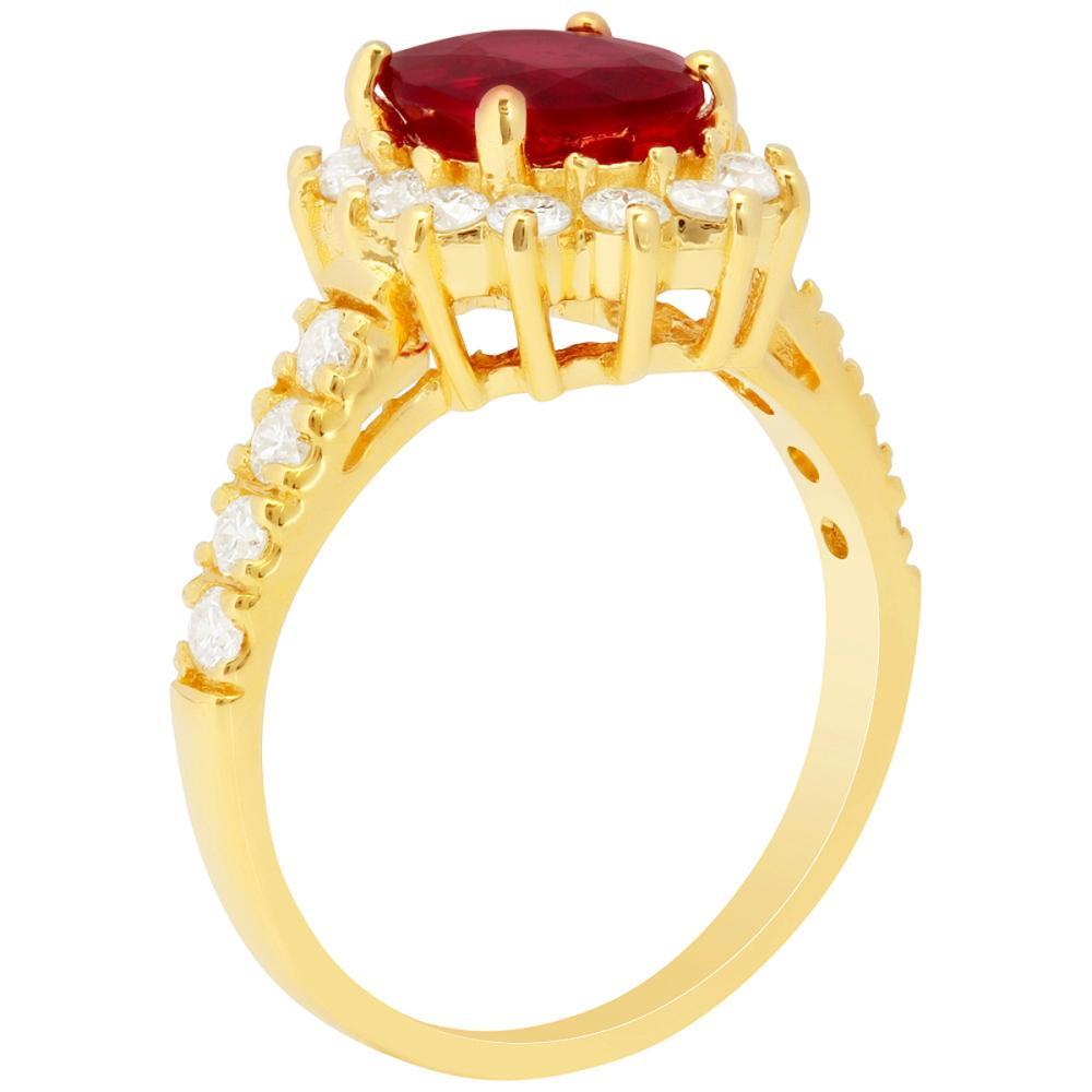 Lot 135: 14k Yellow Gold 2.23ct Ruby 0.75ct Diamond Ring