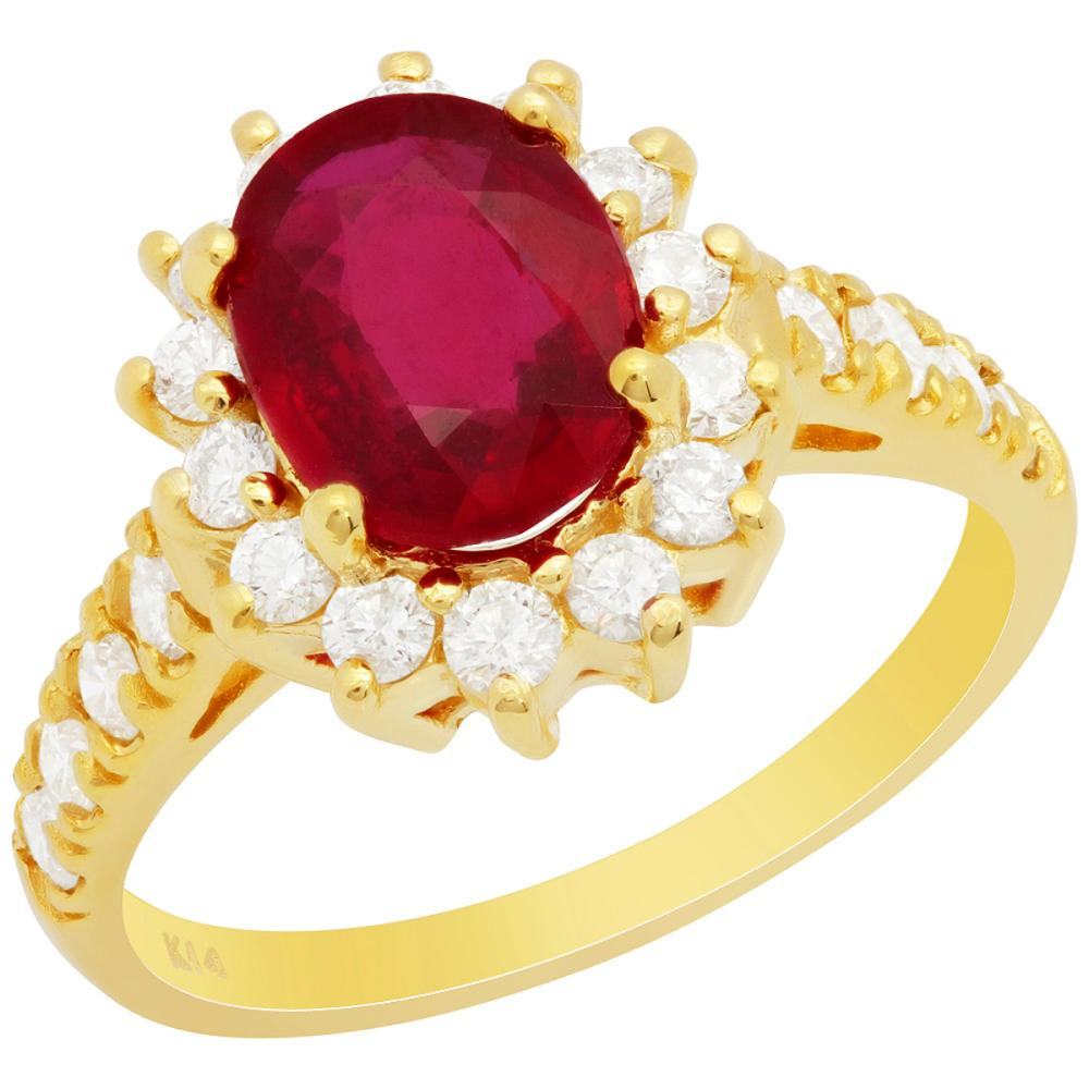 14k Yellow Gold 2.23ct Ruby 0.75ct Diamond Ring